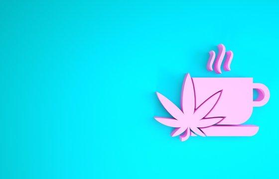 Pink Cup tea with marijuana or cannabis leaf icon isolated on blue background. Marijuana legalization. Hemp symbol. Minimalism concept. 3d illustration 3D render