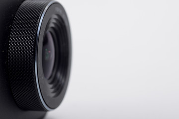 Black action camera on an isolated background