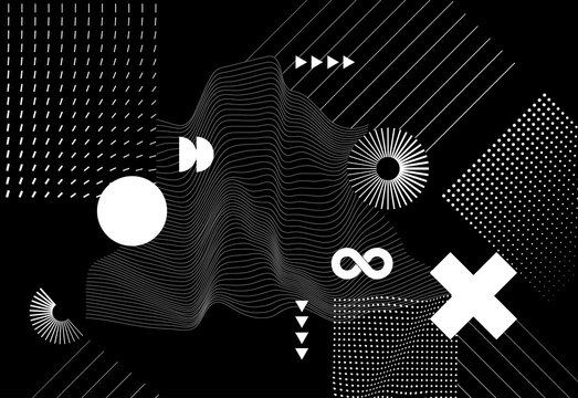 Vector modern abstract background with halftone geometric shapes and textures.