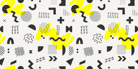 Vector geometric seamless pattern with yellow brush strokes. Hipster Memphis style.