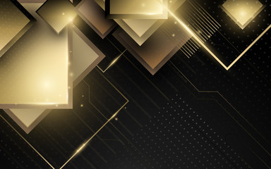 Wall Mural - Abstract geometric gold luxury technology background