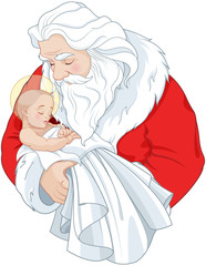 In de dag Sprookjeswereld Santa and Baby Jesus