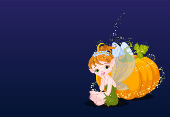 Foto op Canvas Sprookjeswereld Fairy and Pumpkin