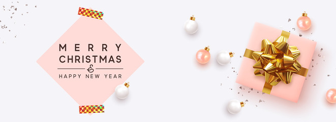 Fototapete - Holiday Christmas Banner. Xmas background with realistic pink gift boxes, white rose color balls. Horizontal poster, header for website, greeting card. Advertising flyer brochure. soft pastel colors