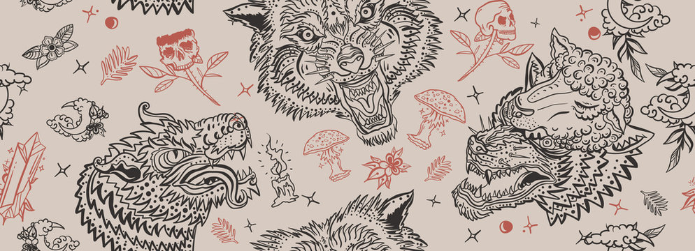 Wolf head seamless pattern. Old school tattoo art. Retro style. Dark gothic background. Aggressive wolves traditional tattooing background. Magic fairy tale style. Werewolf in sheep clothing