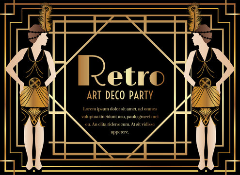 Art Deco Party Invitation with Woman in Dress