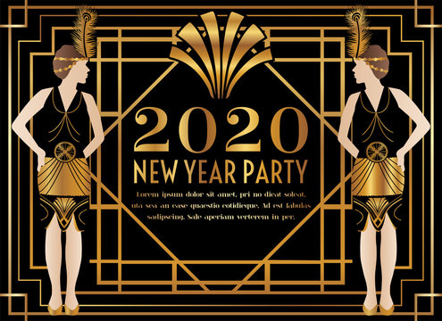 2020 New Year Art Deco Party Invitation with Woman