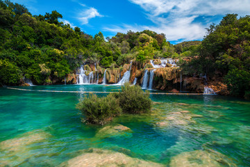 Wall Mural - Amazing Krka National Park with majestic waterfalls, Sibenik, Dalmatia, Croatia