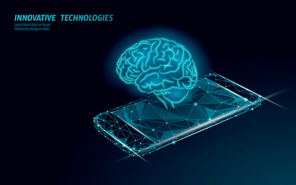 Virtual assistant voice recognition service technology. AI artificial intelligence robot support. Chatbot brain on smartphone system low poly vector illustration