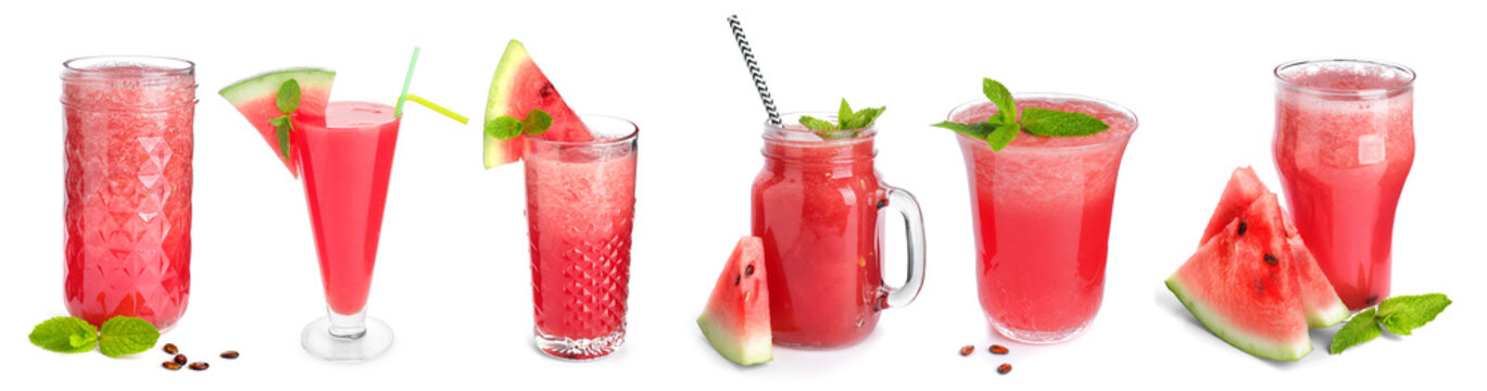 Glass of fresh watermelon juice on white background