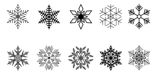 Set of vector snowflakes. Black isolated icon