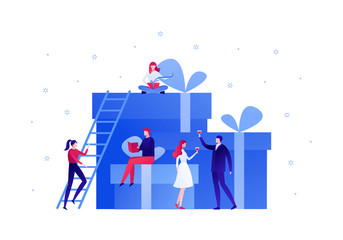 Fototapeta Vector flat gift box holiday people illustration. Business team celebrate sitting on huge gift boxes isolated on white background with snowflakes. Design element for banner, poster, web, infographics.