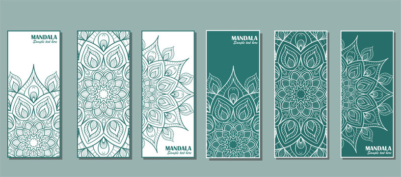 Set of cards with the image of a circular mandala in turquoise color.