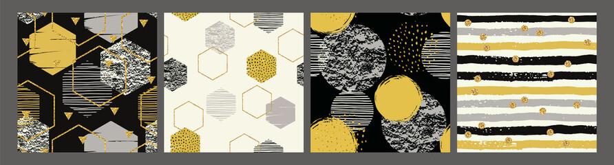 Abstract geometric seamless patterns. Modern vector design