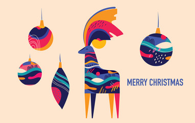 Fotomurales - Colorful illustration with amazing Christmas deer and Christmas toys