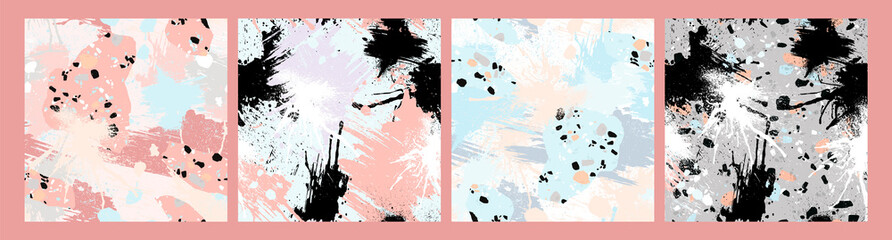 Abstract seamless patterns with brush strokes, paint splashes and stone textures.