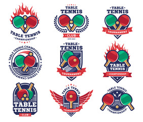 Table tennis, ping pong vector logotype, emblem, design collections
