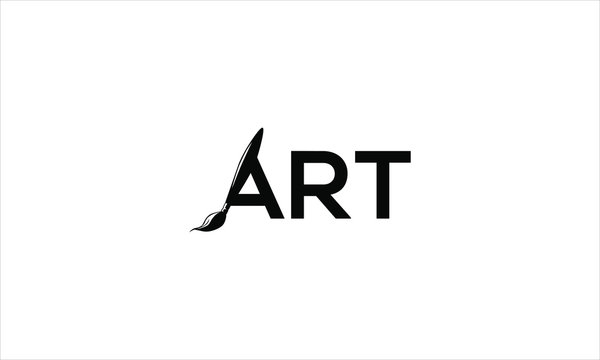 Art text logo with paint brush in black colour and flat minimal vector logo style
