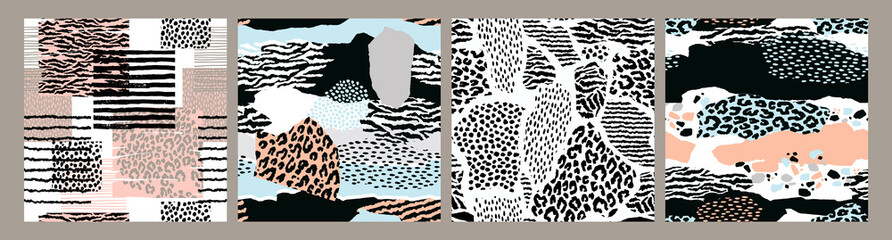 Abstract seamless patterns with animal print. Trendy hand drawn textures.