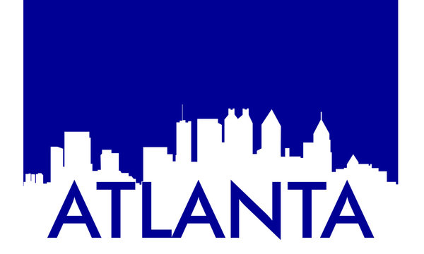 Atlanta skyline and landmarks silhouette, black and white design with flag in background, vector illustration