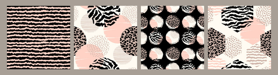 Abstract seamless patterns with animal print. Trendy hand drawn textures