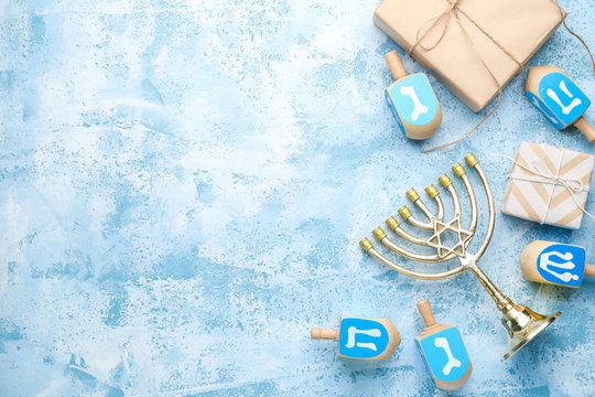 Beautiful composition for Hannukah on color background