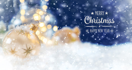 Wall Mural - Merry Christmas and Happy New Year, Holidays greeting card background. Selective focus.