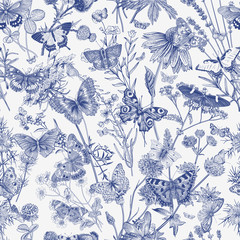 Butterflies and wild flowers. Seamless pattern. Vector vintage classic illustration. Blue and white