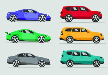 Garden Poster Cartoon cars car vector illustration, side view, icon auto, cartoon flat style