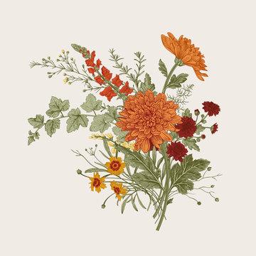 Autumn flowers. Classic flower arrangement. Vector botanical floral illustration.
