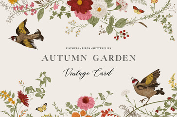 Autumn Garden. Vector horizontal card. Vintage floral elements. Flowers, birds, butterflies Fotomurales