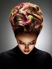 Spoed Fotobehang Kapsalon Beautiful woman with a stylish hairstyle