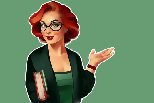 The portrait of business woman in a Pin-up style. It can be teacher, student or woman from science. With glasses, with books and graphs. Illustration on a green background.