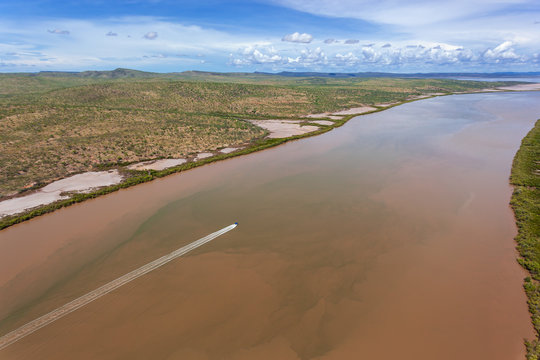 Oblique aerial view of the Forrest River near Wyndham where it flows into Cambridge Gulf in the Kimberley region of Western Australia.
