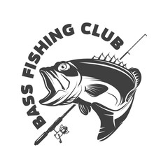 Bass fishing club. Emblem template with perch and fishing rod. Design element for logo, label, sign, poster. Vector illustration