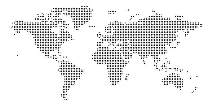World map black point white background isolated . Vector illustration.