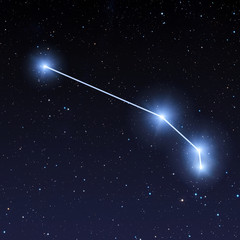 Aries constellation map in starry sky
