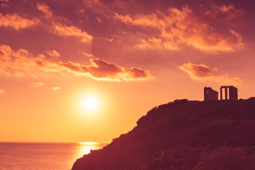 Fotobehang Bedehuis Greek temple of Poseidon, Cape Sounio