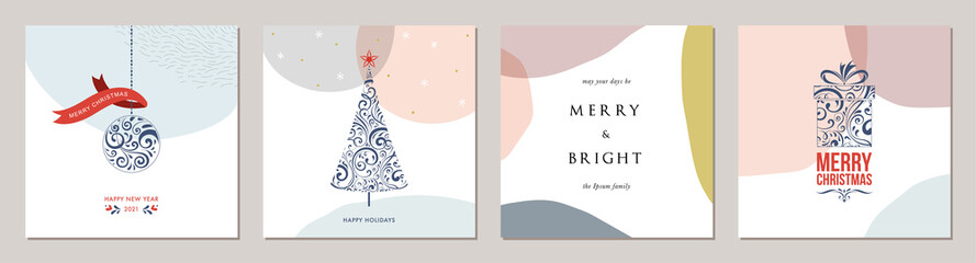 Wall Mural - Merry Christmas greeting cards. Trendy abstract square Winter Holidays art templates.