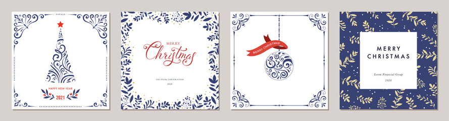 Ornate Merry Christmas greeting cards. Trendy square Winter Holidays art templates. Fotomurales