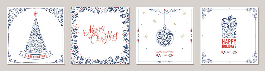 Wall Mural - Ornate Merry Christmas greeting cards. Suitable for social media post, mobile apps, banner design and web/internet ads.