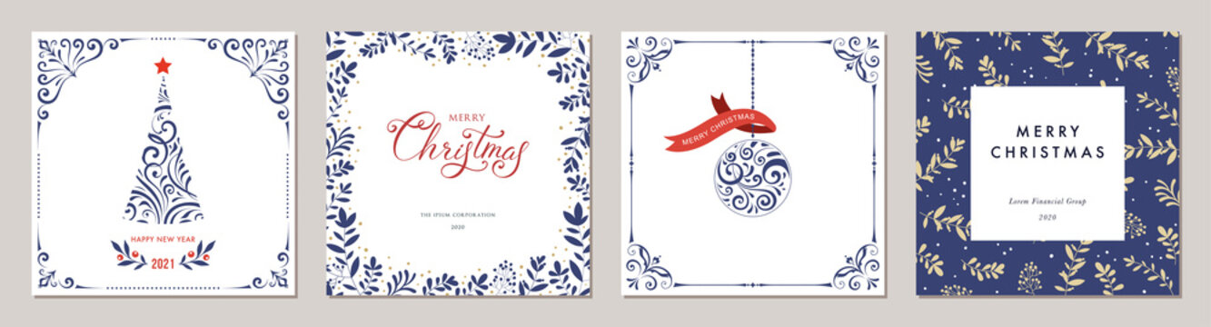 Ornate Merry Christmas greeting cards. Trendy square Winter Holidays art templates.