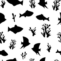 Seamless pattern: black isolated silhouettes of fish and corals on a white background. vector. illustration