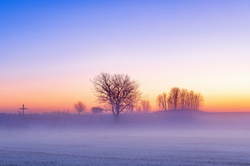 Cold mist in sunset in the winter country