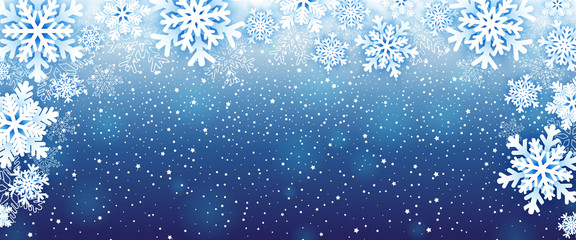Winter background with snowflakes. Vector illustration Fotobehang