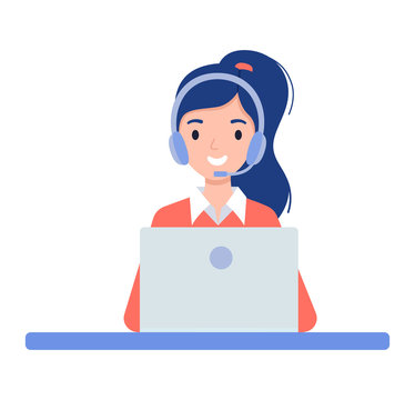 Girl in the headphones. Customer support center via phone. Mail operator service icons concept. Vector illustration in flat style