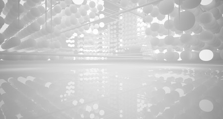 Abstract white architectural interior from an array of spheres with neon lighting. 3D illustration and rendering. Fotoväggar