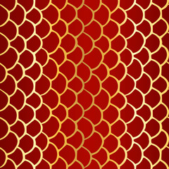 Seamless simple texture with hand drawn abstract golden scale on dark red background; Vector endless doodle pattern with curves for decor, fabric print, gift wrap, invitations and wrapping paper