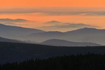 In de dag Oranje eclat Beautiful landscape and sunset in the mountains. Hills in clouds. Jeseniky - Czech Republic - Europe.
