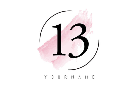 Number 13 Watercolor Stroke Logo Design with Circular Brush Pattern.
